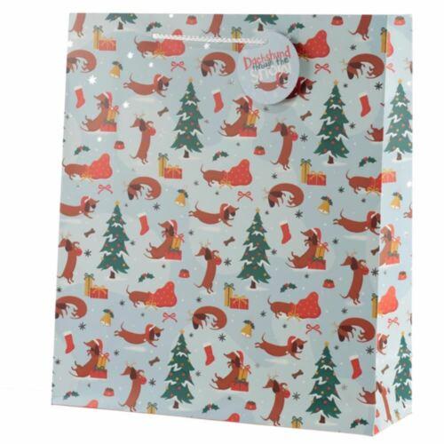 Cadeau//Présent Noël Teckel à travers la Neige Sac Cadeau-Extra Large