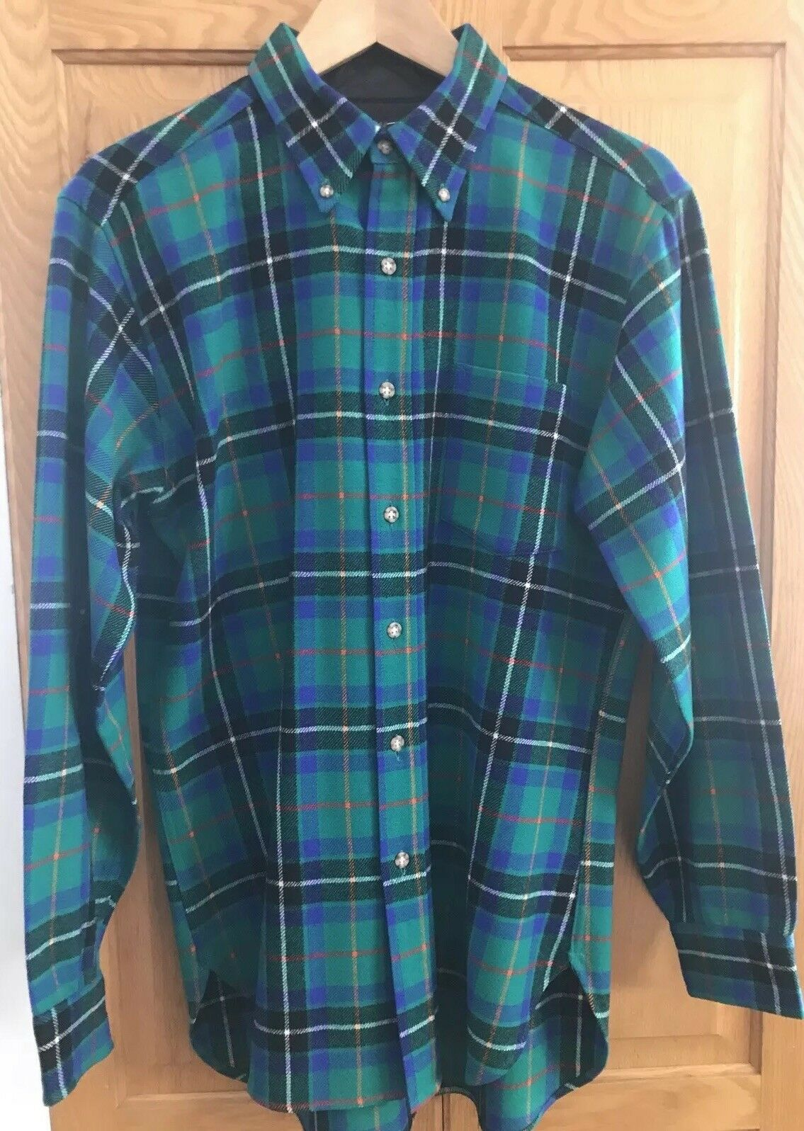 Vintage Pendleton LOBO Mens Shirt 100% Virgin Wool green bluee USA Size Medium