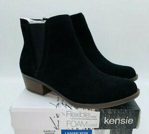 Kensie Womens Gazelle Black Leather Suede Short Ankle Boots Bootie Shoe Size 10