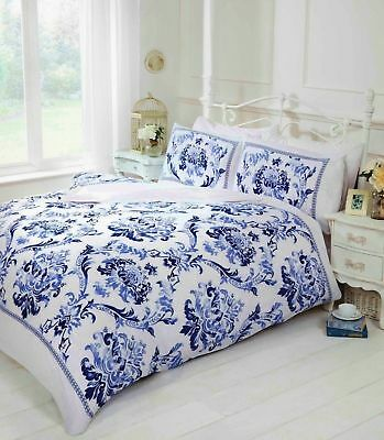 Single Baroque Floral Duvet Quilt Cover Navy Blue White Bedding