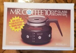 Mr. Coffee 10 Cup 50 oz Glass Decanter Model D-7 1982