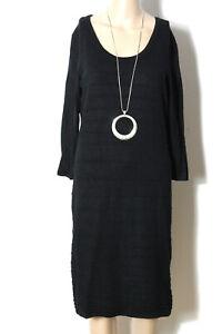 orsay-Kleid-Gr-M-L-lang-schwarz-knielang-3-4-Arm-Stiefel-Strick-Kleid