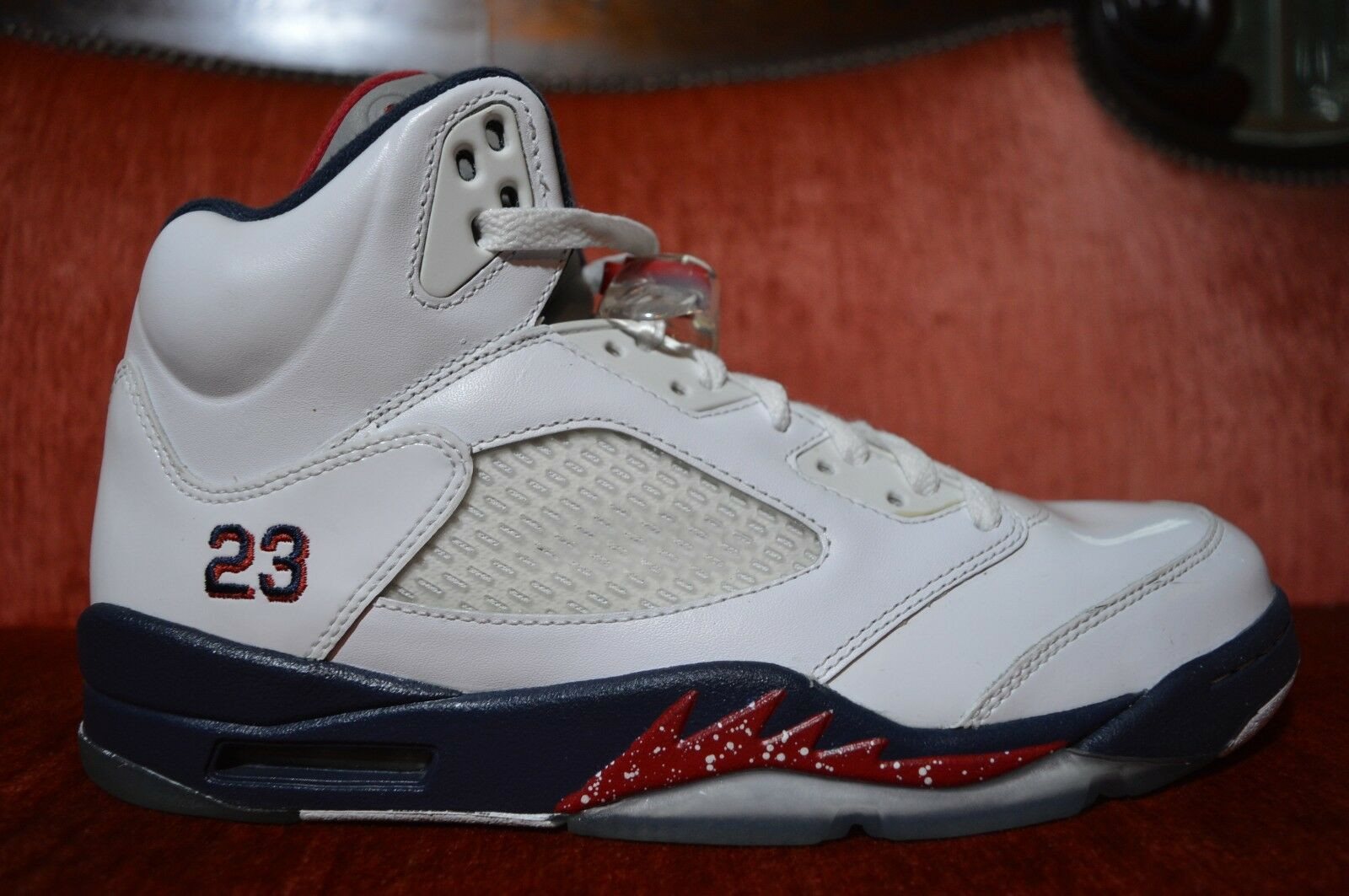 Nike air jordan 5 v 'pulita olympic usa 136027-103 taglia 10 rosso - bianco - blu