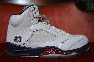 new concept 00e4b 5b78e Details about CLEAN Nike Air Jordan Retro 5 V Olympic USA 136027-103 Size  10 Red White Blue