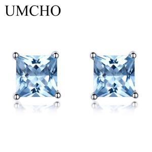 925-Sterling-Silver-Stud-Earrings-For-Women-Princess-cut-Sky-Blue-Topaz-Earrings