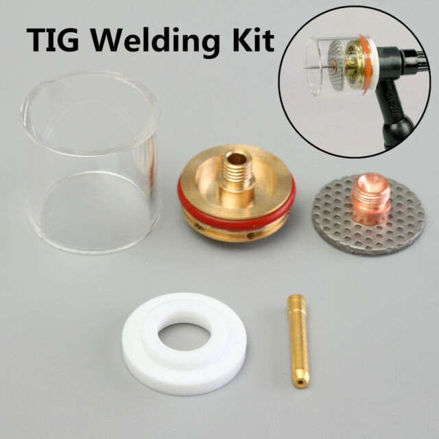 5PCS TIG Welding Torch Gas Lens Pyrex Cup Kit For WP-9 20