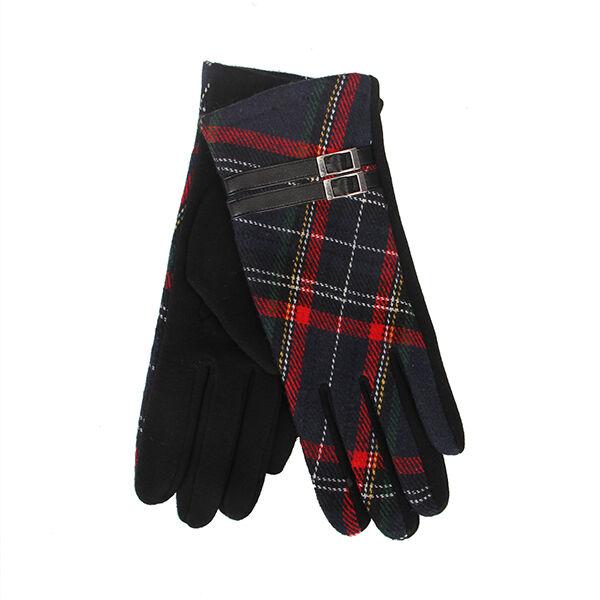 Avoir Un Esprit De Recherche Tartan Traditions écossais Rouge Et Noir Tartan Femmes Gants Avec Marron Boucle Lustre Brillant