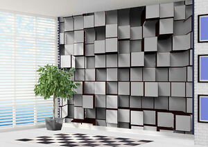 Wallpaper Black And White 3d Blocks Abstract Wall Mural Photo