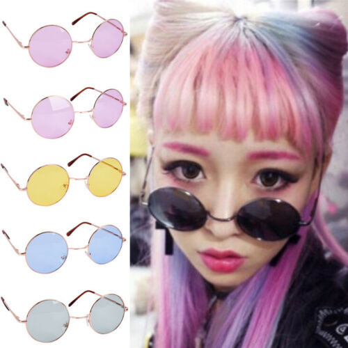 Large Oversized Big Round Metal Frame Color Lens Round Circle Eye Glasses DIUK