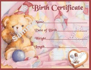 Image Is Loading PINK TEDDY BIRTH CERTIFICATE CERTIFICATES 4 REBORN FAKE