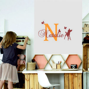Details About Bambi Wall Stickers Personalised Name Initial Home Decor Kids Baby Art Bedroom