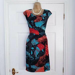 NINE-WEST-Ladies-Black-Orange-amp-Teal-Ruched-Stretch-Dress-size-2-UK-10
