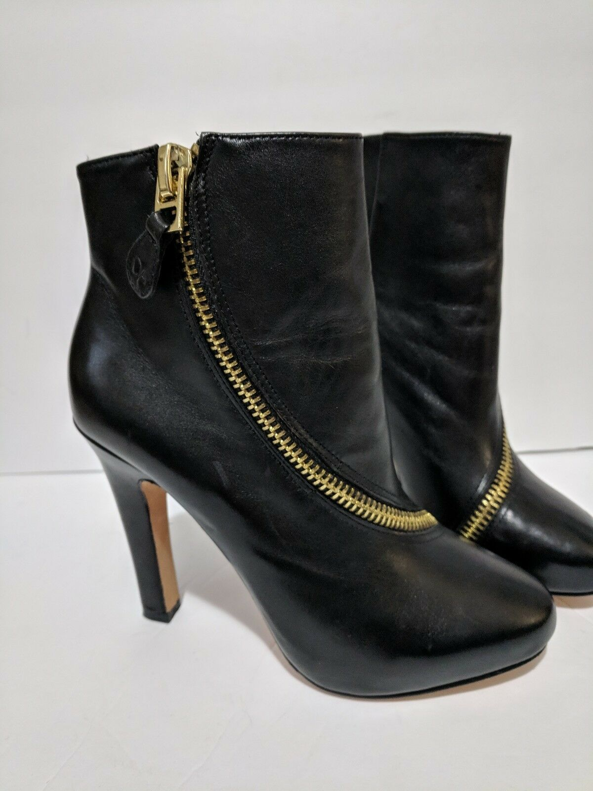 autorizzazione ufficiale DVF DVF DVF Diane Von Furstenberg 5.5 avvioies Candy Zip Trim Leather nero Stacked Heel  fino al 60% di sconto