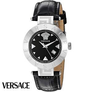 Versace-XLQ99D009-S008-Reve-silber-schwarz-Leder-Armband-Uhr-Damen-NEU