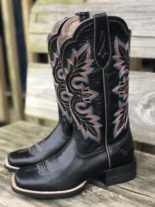 ariat square toe black boots