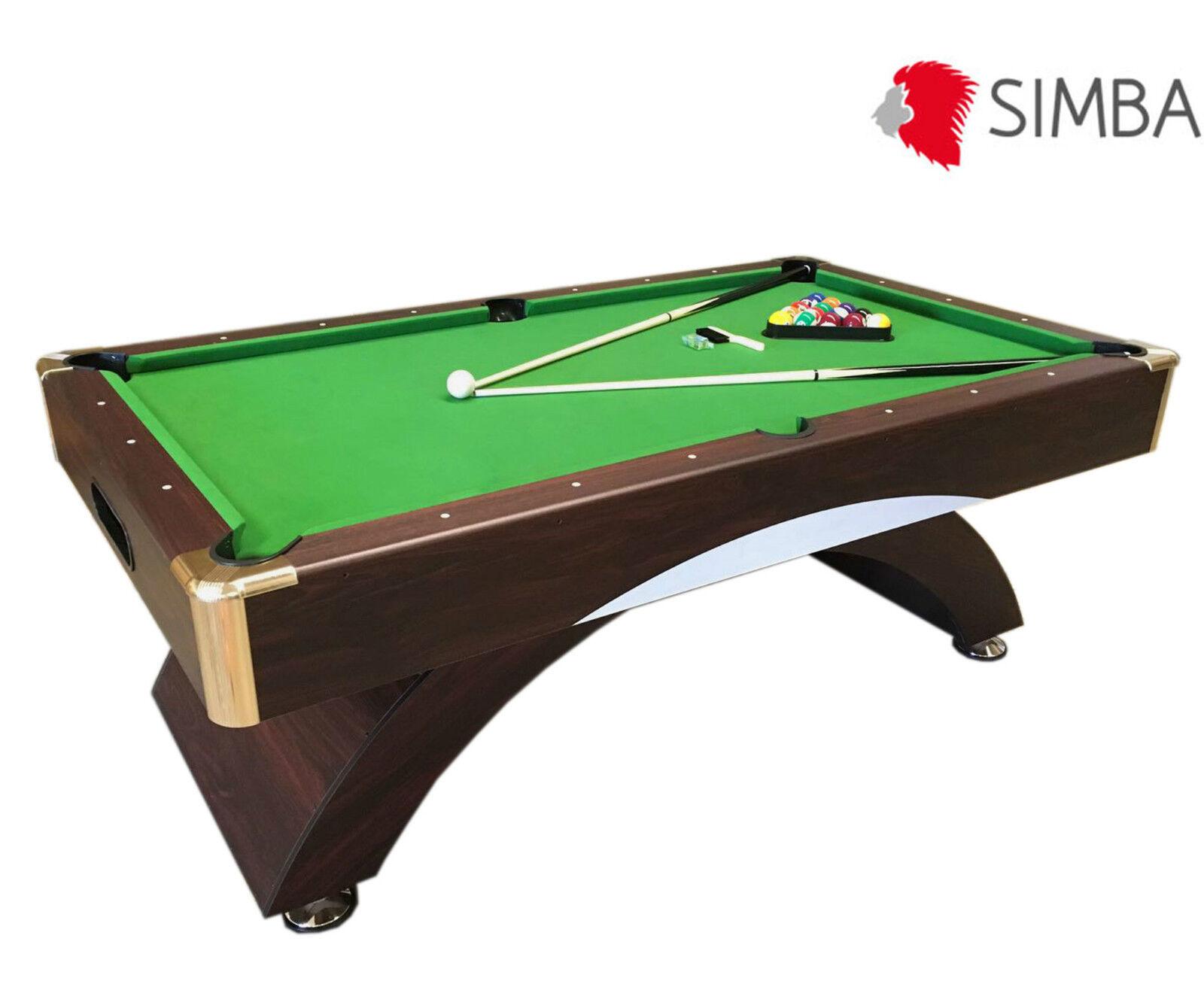Mesa de billar juegos de billar pool 7 ft carambola Medición de 188 X 96 cm Verd