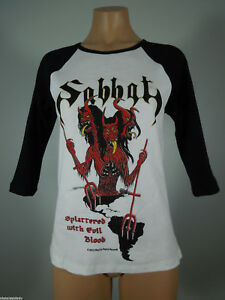 SABBAT-Splattered-GIRLIE-Raglan-Official-Tee-Black-Sleeve-R-I-P-Records-NEW