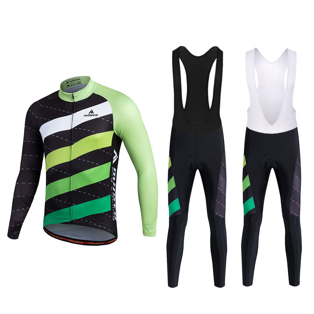Twill Men's  Cycling Long Bib Pants and Long Sleeve Cycle Jersey Bike Clothes Set  large discount