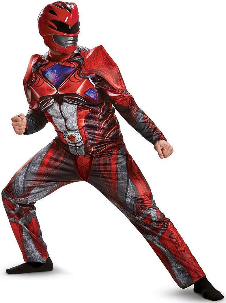 Saban's Power Rangers Red Ranger Muscle Power Rangers Movie Fancy Dress Halloween Deluxe Adult Costume