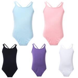 Girls Gymnastics Ballet Dance Dress Sleeveless Cross Leotard Dancewear Age 3-14Y