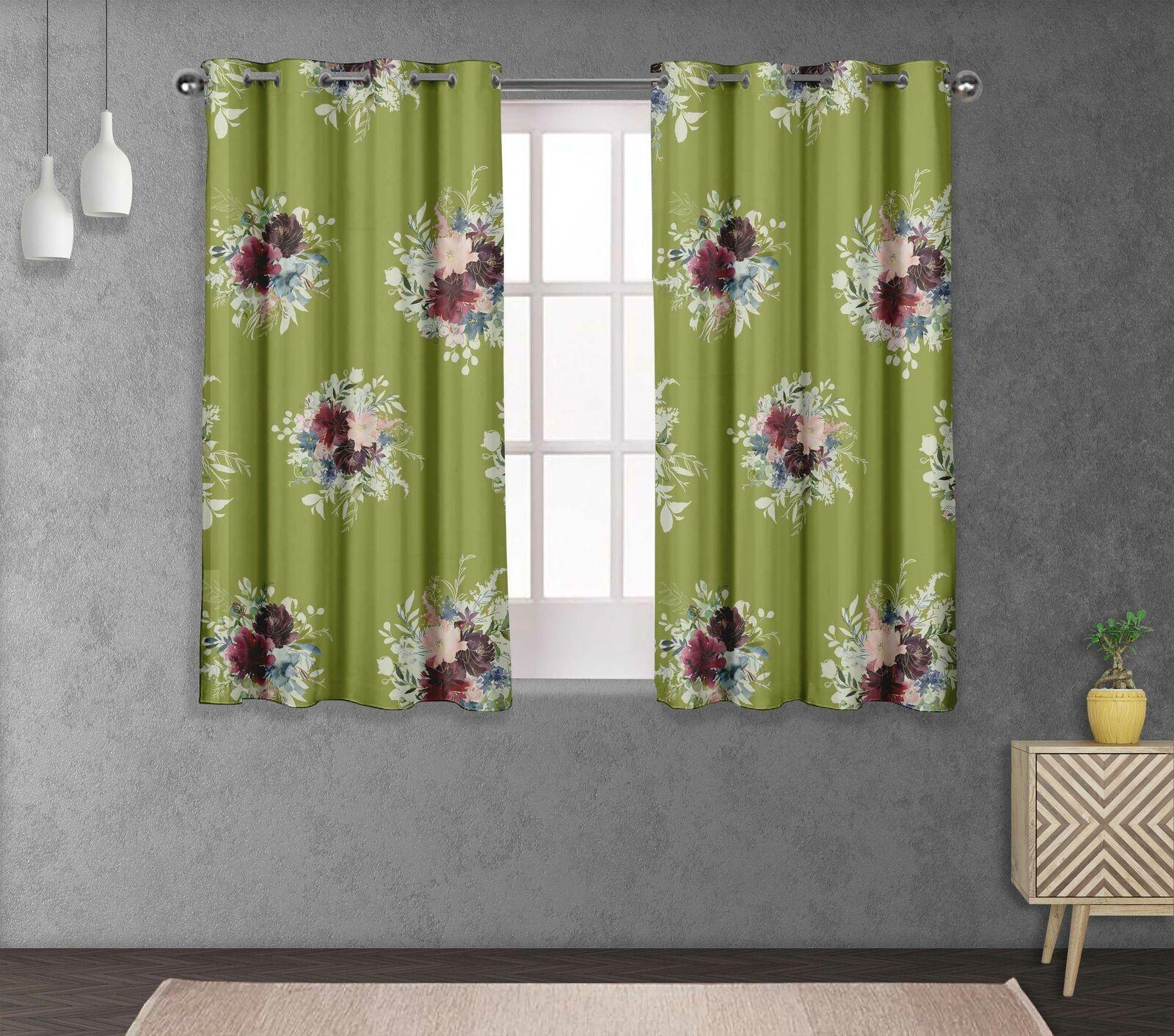 S4sassy Leaves & Peony Home Decorative short & long Curtain Eyelet Panel-FL-620G