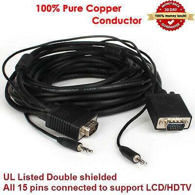 VGA Monitor Cable with 3.5mm Stereo Audio /& Ferrite Cores 2M 3M 5M 8M 10M