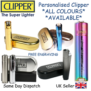PERSONALISED ENGRAVED METAL CLIPPER LIGHTER - BLACK BLUE GOLD