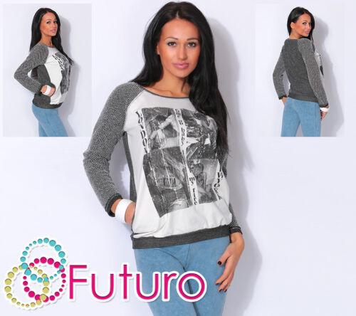 NY Stampa Top Tunica Sudore Taglie 8-14 fw65 Maglione Donna con Tasche Londra