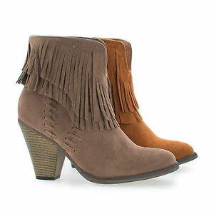dallas03 western slip on stacked block heel fringe ankle boots
