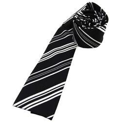schöne Damenkrawatte in Satin schwarz silber gestreift – Größe 125 x 5,5 cm