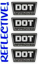 Reflective White DOT Approved Motorcycle Helmet Stickers / Decals / Labels (4x)