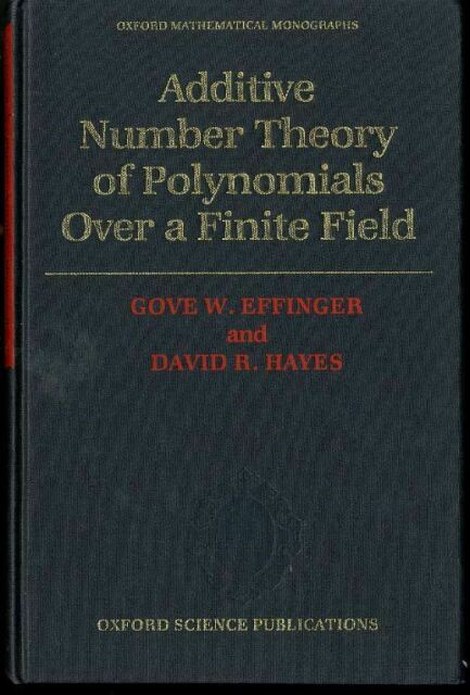 Additive Number Theory of Polynomials Over a Finite Field G.Effinger & D.Hayes
