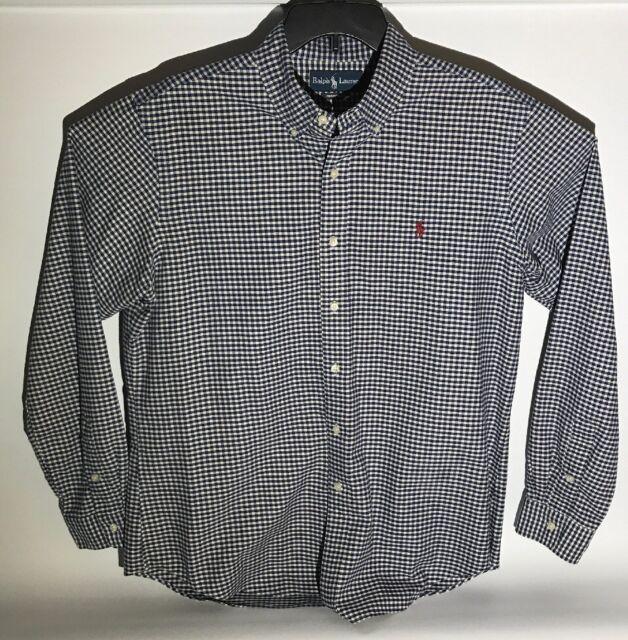 9c1fee63a Polo Ralph Lauren Blue White Check Button down Long Sleeve Shirt Mens Size  Large