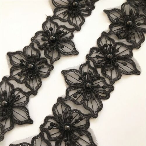 Flower Pearl Lace Embroidered Applique Wedding Ribbon Dress Garment Decoration