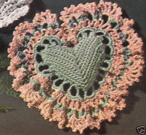 Vintage Crochet Heart Sachet Pin Cushion Pattern