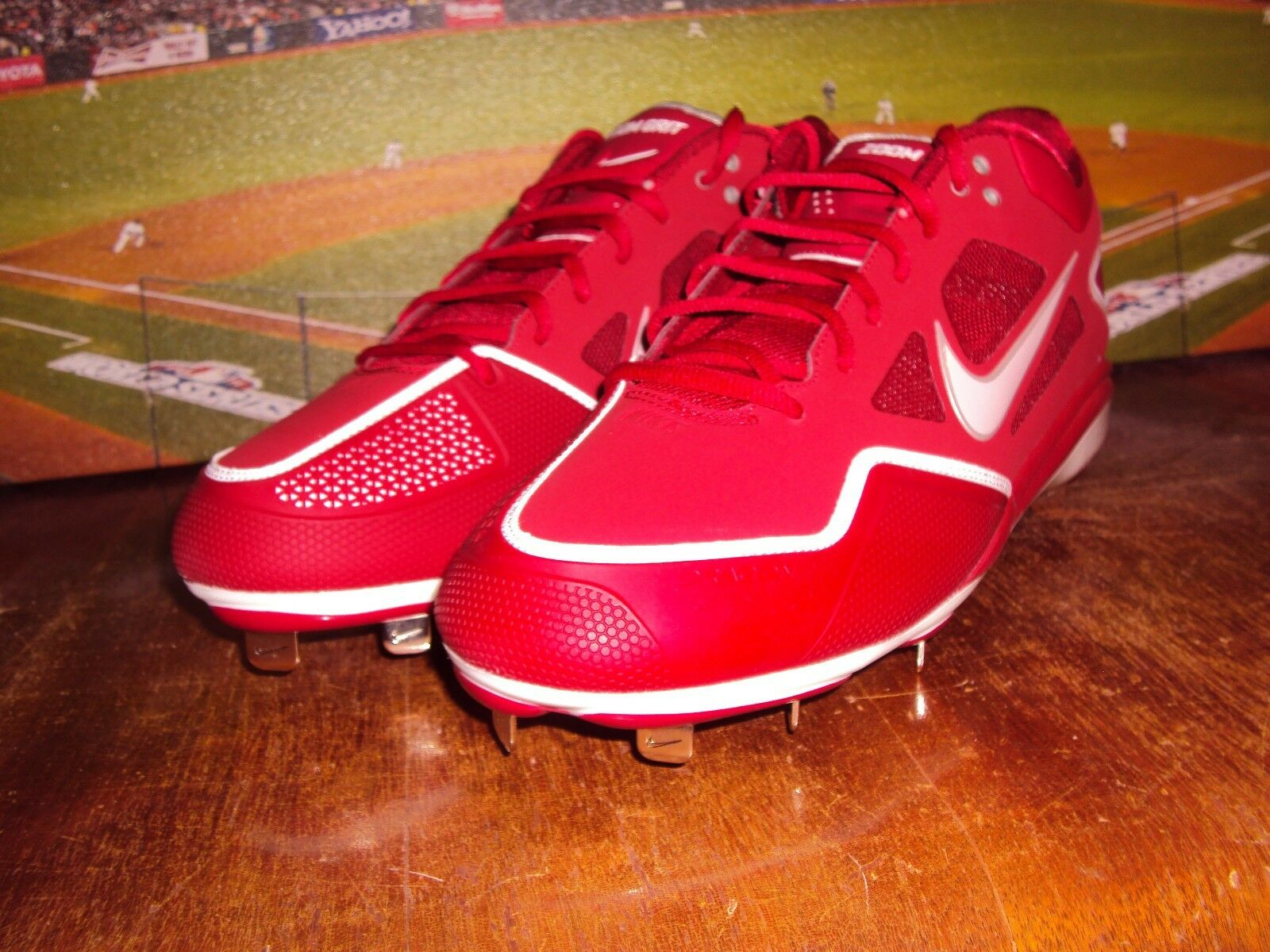 fa80f9c83f8 NIKE ZOOM GRIT METAL BASEBALL CLEATS RED WHITE RARE COLOR LOW ...