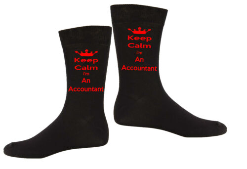 Mens Personalised Keep Calm I/'m A...Occupation Novelty Vinyl Printed Gift Socks