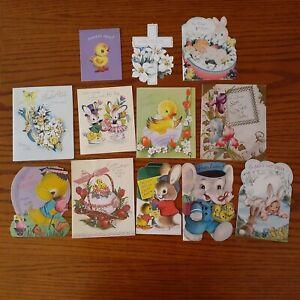 12pc-USED-Vintage-Easter-Greeting-Cards-1950s-Bunny-Flowers-Ducks-Crafts-Die-Cut