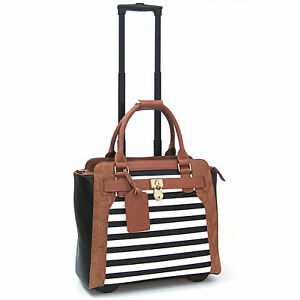 Cabrelli-Sally-Stripe-Rolling-Laptop-Briefcase-Women-039-s-Bag-Wheeled-Case-716020U