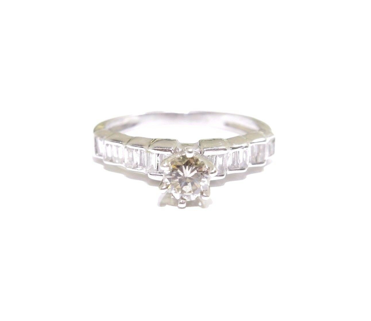 14k White gold .75tcw White Diamond Round & Baguette Cut Beautiful Promise Ring