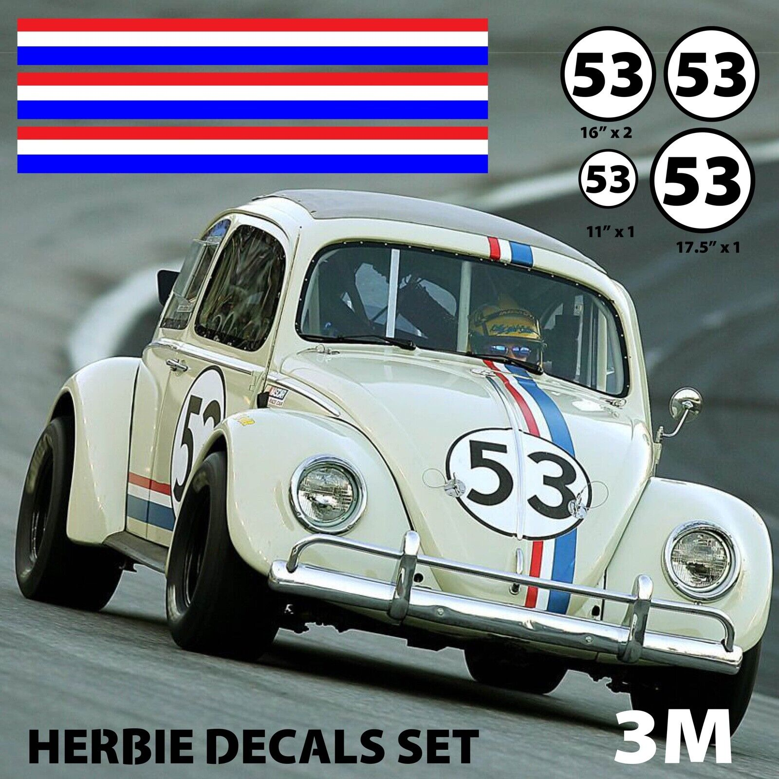 HERBIE 53 STICKER Ø 3 à 100 cm effet Usé Racing Le mans cox SCRATCHED NON GULF .