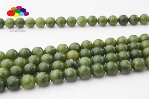À faire soi-même 6//8//10//12mm pierre naturelle Canadian Green Jade Perles rondes Fit Bracelet