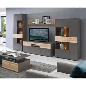 Details Zu Wohnwand Como Anbauwand Wohnzimmer 4 Teilig In Grau Und Planked Eiche Mit Led