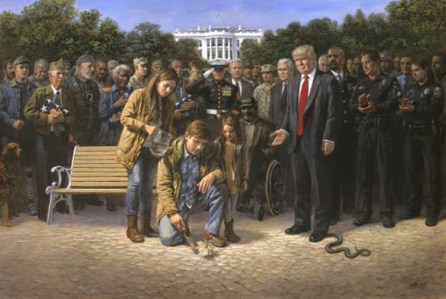 Jon McNaughton YOU ARE NOT FORGOTTEN 16x24 S//N Donald Trump Republican Canvas