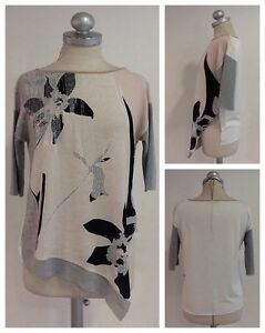 Zara-Bluse-Shirt-Cotton-Mix-3-4-Arm-36-S-Pastell-Hell-Floral-Muster-1A