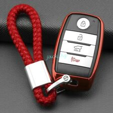 Car Key Fob Cover Chain Ring Case For Kia Sportage Soul Ev Optima Carnival Red Fits More Than One Vehicle