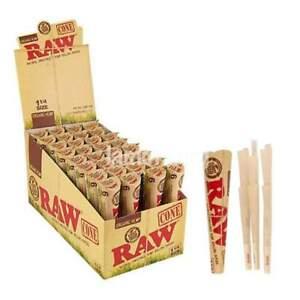AUTHENTIC Raw Rolling Paper Pre-Rolled Organic Hemp Cones 1 1/4 - 4 Pks-24 Cones
