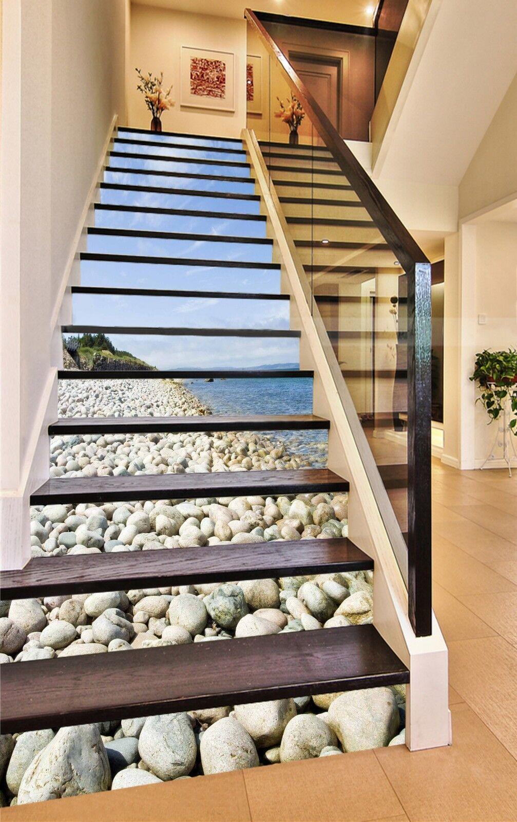 3D Felsstrand 1501 Stair Risers Dekoration Fototapete Vinyl Aufkleber Tapete DE