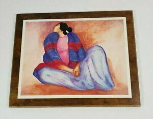SCOTTSDALE-Laminating-Plaque-Art-Wood-Wall-Hang-BLUE-BLANKET-SHAWL-R-C-GORMAN