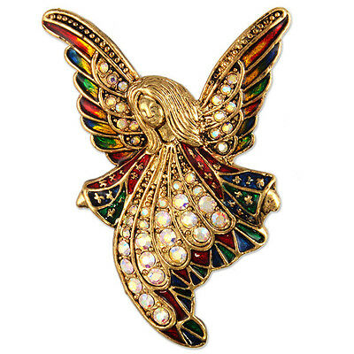 CRYSTAL ANTIQUE GOLD PLATE ANGEL BROOCH PIN PENDANT MADE WITH SWAROVSKI ELEMENTS